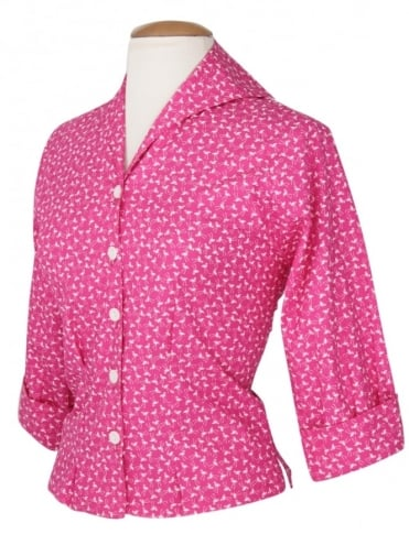 50s-1950s-Vivien-of-Holloway-Best-Vintage-Reproduction-Raglan-Blouse-Flamingo-Cotton-Rockabilly-Swing-Pinup