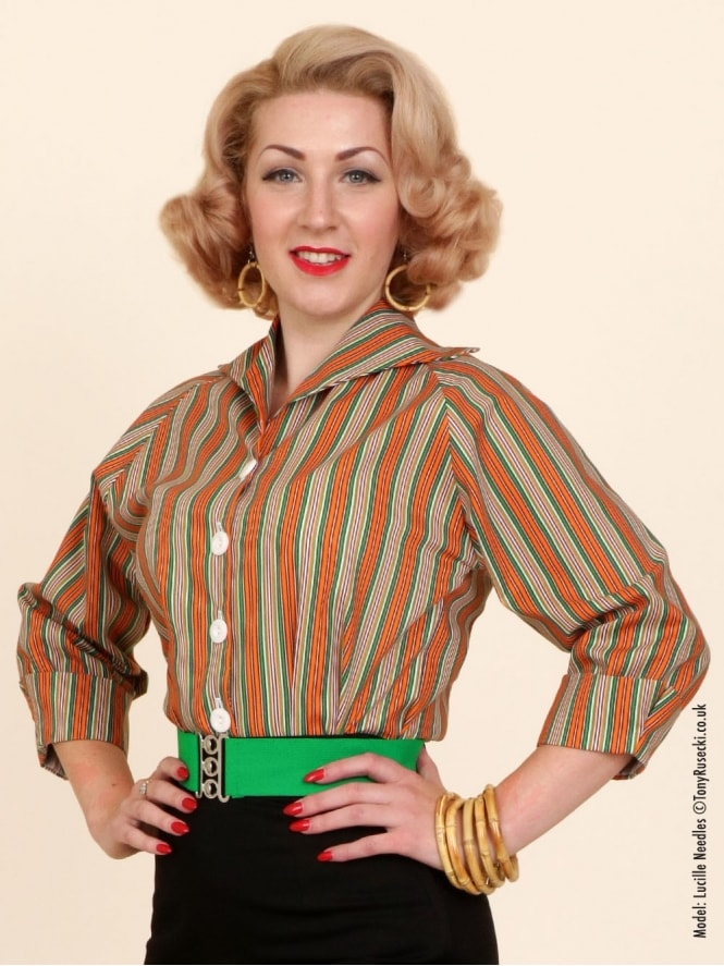 50s-1950s-Vivien-of-Holloway-Best-Vintage-Style-Reproduction-Repro-Raglan-Blouse-Green-Orange-Stripe-Rockabilly-Swing-Pinup