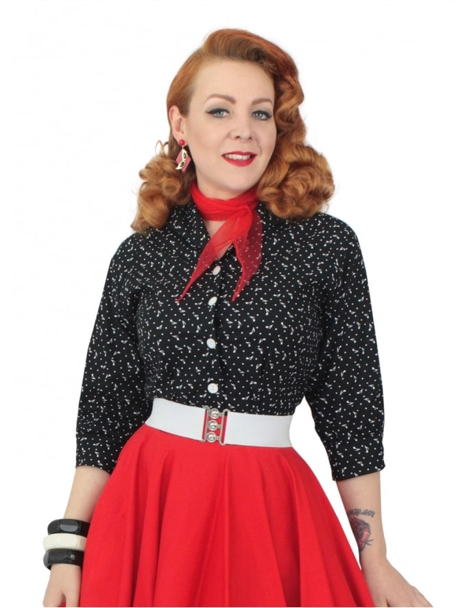 50s-1950s-Vivien-of-Holloway-Best-Vintage-Reproduction-Raglan-Blouse-MusicNote-Black-Cotton-Rockabilly-Swing-Pinup