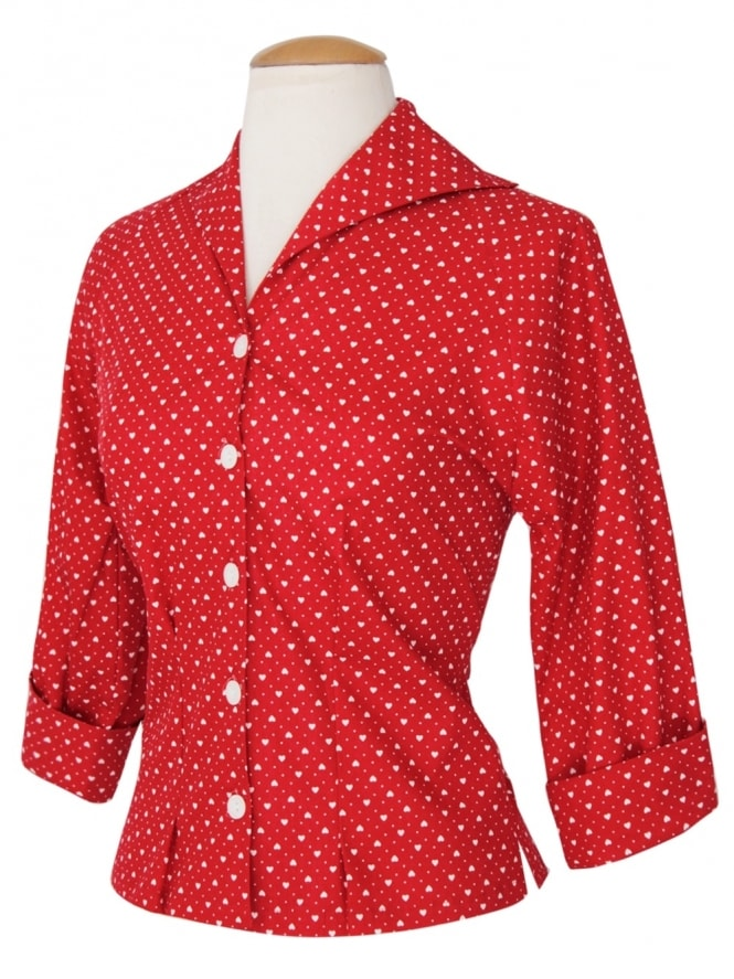 50s-1950s-Vivien-of-Holloway-Best-Vintage-Reproduction-Raglan-Blouse-Red-Heart-Cotton-Rockabilly-Swing-Pinup
