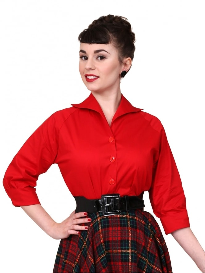 50s-1950s-Vivien-of-Holloway-Best-Vintage-Reproduction-Raglan-Blouse-Red-Cotton-Rockabilly-Swing-Pinup