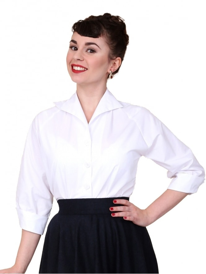 50s-1950s-Vivien-of-Holloway-Best-Vintage-Reproduction-Raglan-Blouse-White-Cotton-Rockabilly-Swing-Pinup