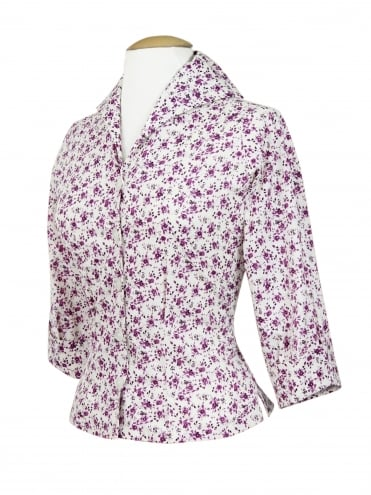 50s-1950s-Vivien-of-Holloway-Style-Vintage-Reproduction-Raglan-Blouse-Ivory-Purple-Flowers-Rockabilly-Swing-Pinup