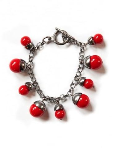 Red Acorn Charm Bracelet