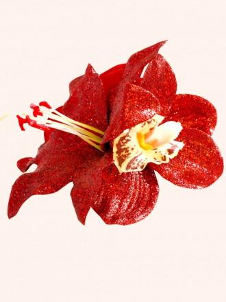 Red Glitter Hair Flower