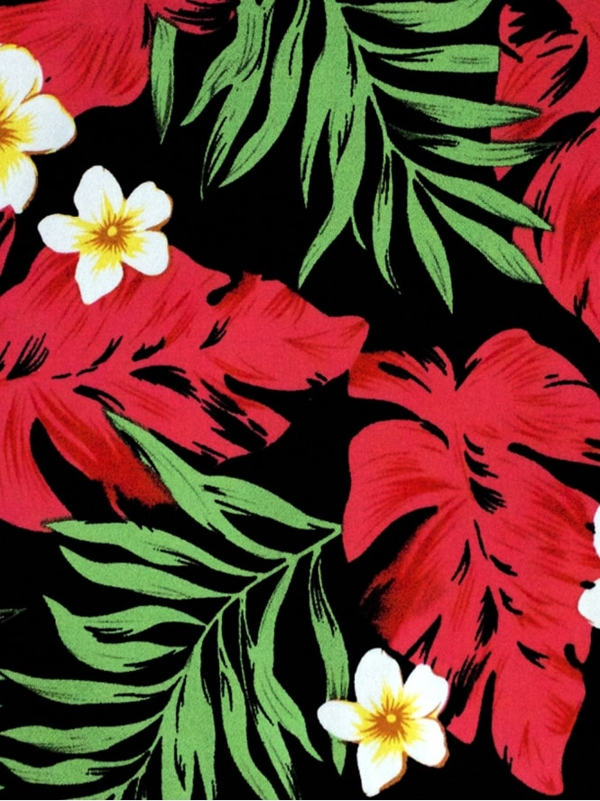 40s-1940s-50s-1950s-Vivien-of-Holloway-Best-Vintage-Style-Reproduction-Repro-Red-Palm-Tropical-Hawaiian-Floral-Red-Green-Print-Cotton-Fabric-Swing-Pinup-Rockabilly