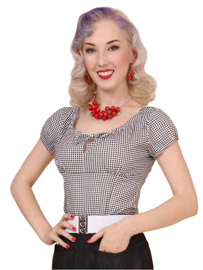 40s-1940s-Vivien-of-Holloway-Best-Vintage-Style-Reproduction-Repro-Rio-Top-Black-Gingham-Check-Print-Cotton-Rockabilly-Swing-Pinup