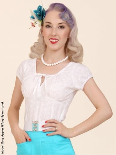 Rio Top Broderie Anglaise White