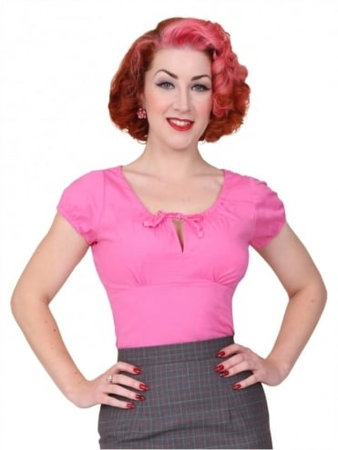 40s-1940s-Vivien-of-Holloway-Best-Vintage-Style-Reproduction-Repro-Rio-Top-Cerise-Pink-Cotton-Rockabilly-Swing-Pinup