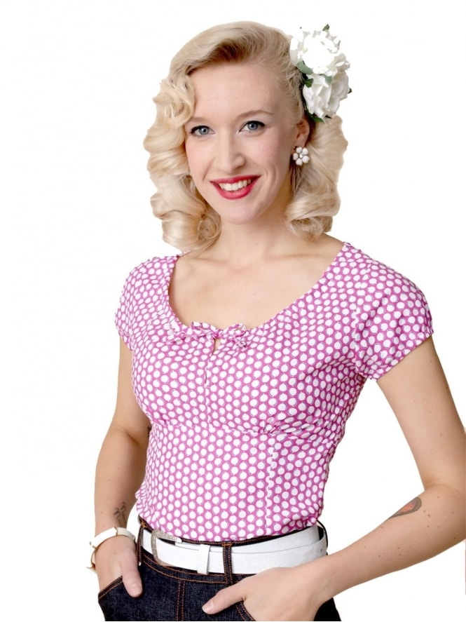 40s-1940s-Vivien-of-Holloway-Best-Vintage-Style-Reproduction-Repro-Rio-Top-Cerise-Pink-Spot-Print-Cotton-Rockabilly-Swing-Pinup