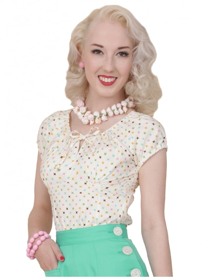 40s-1940s-Vivien-of-Holloway-Best-Vintage-Style-Reproduction-Repro-Rio-Top-Diamond-Cream-Print-Cotton-Rockabilly-Swing-Pinup