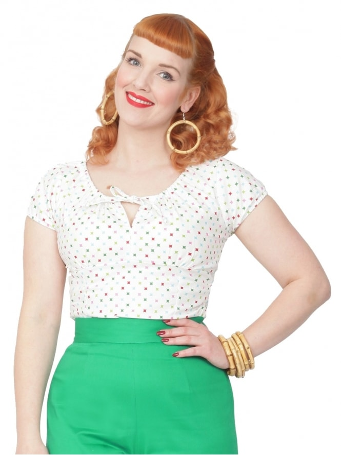 40s-1940s-Vivien-of-Holloway-Best-Vintage-Style-Reproduction-Repro-Rio-Top-Diamond-White-Print-Cotton-Rockabilly-Swing-Pinup