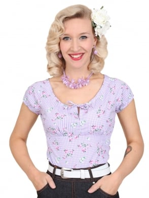 Rio Top Gingham Rose Lilac