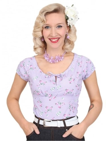 40s-1940s-Vivien-of-Holloway-Best-Vintage-Style-Reproduction-Repro-Rio-Top-Gingham-Rose-Lilac-Purple-Check-Floral-Print-Cotton-Rockabilly-Swing-Pinup