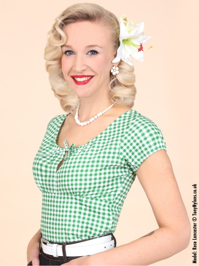 40s-1940s-Vivien-of-Holloway-Best-Vintage-Style-Reproduction-Repro-Rio-Top-Green-Gingham-Check-Print-Cotton-Rockabilly-Swing-Pinup
