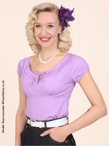 40s-1940s-Vivien-of-Holloway-Best-Vintage-Style-Reproduction-Repro-Rio-Top-Lilac-Purple-Cotton-Rockabilly-Swing-Pinup