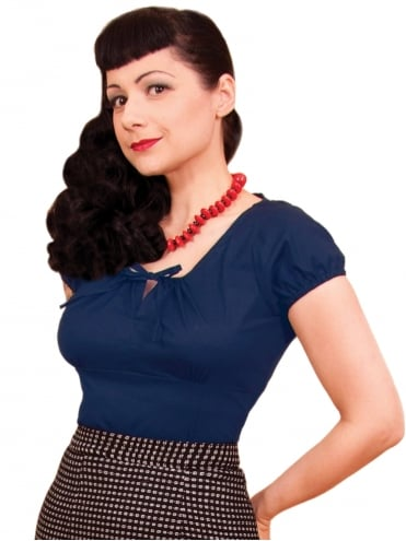 40s-1940s-Vivien-of-Holloway-Best-Vintage-Style-Reproduction-Repro-Rio-Top-Navy-Blue-Cotton-Rockabilly-Swing-Pinup