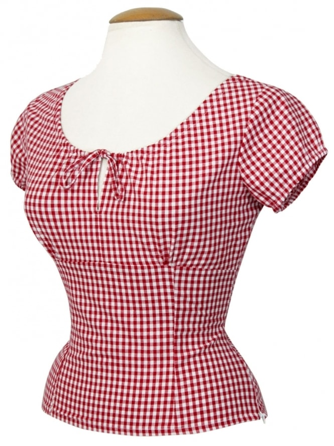 40s-1940s-Vivien-of-Holloway-Best-Vintage-Style-Reproduction-Repro-Rio-Top-Red-Gingham-Check-Print-Cotton-Rockabilly-Swing-Pinup