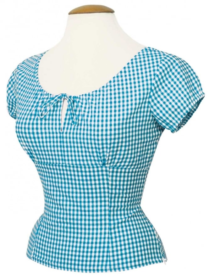 40s-1940s-Vivien-of-Holloway-Best-Vintage-Style-Reproduction-Repro-Rio-Top-Turquiose-Gingham-Check-Print-Cotton-Rockabilly-Swing-Pinup