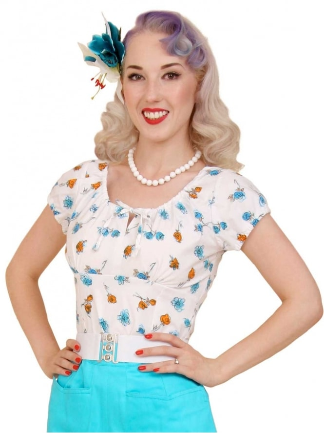 40s-1940s-Vivien-of-Holloway-Best-Vintage-Style-Reproduction-Repro-Rio-Top-White-Blue-Floral-Print-Cotton-Rockabilly-Swing-Pinup