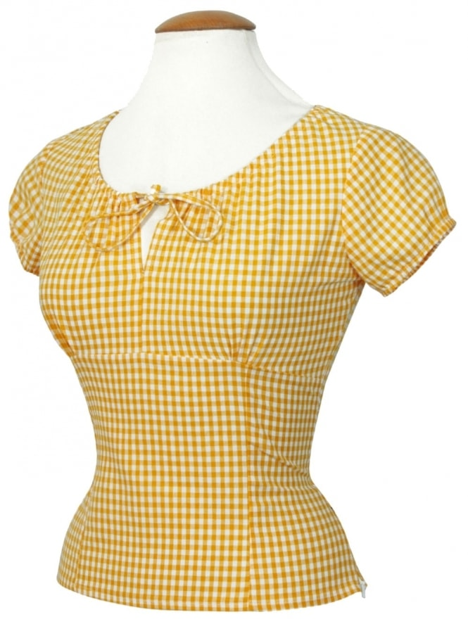 40s-1940s-Vivien-of-Holloway-Best-Vintage-Style-Reproduction-Repro-Rio-Top-Yellow-Gingham-Check-Print-Cotton-Rockabilly-Swing-Pinup