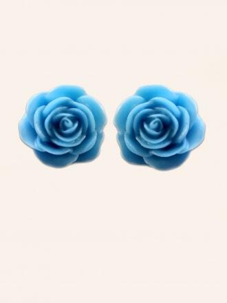 Rose Blue Large Stud Earrings