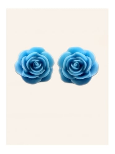 Rose Blue Large Stud Earrings