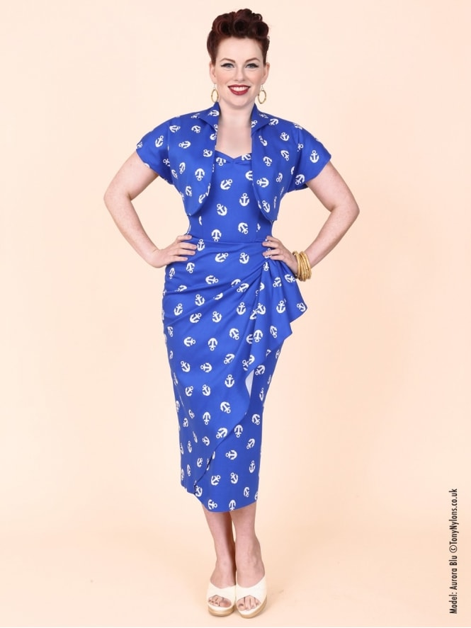 40s-1940s-Vivien-of-Holloway-Best-Vintage-Reproduction-Sarong-Bolero-Set-Blue-Anchor-Nautical-Sailor-Hollywood-Starlet-Pinup