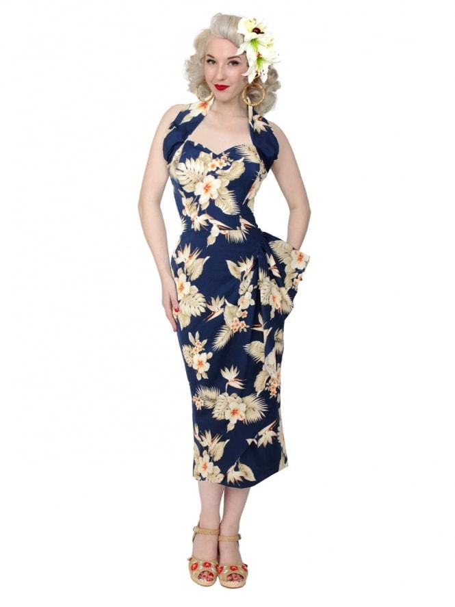 Repro-1940s-Sarong-Dress-Bird-of-paradise-Blue-Rockabilly-Swing-Pinup