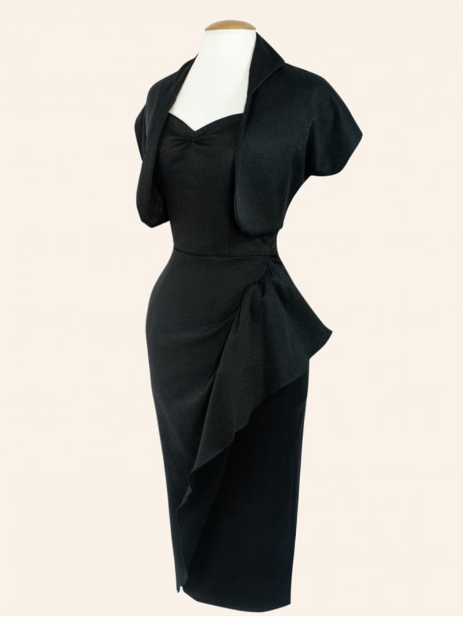 40s-1940s-Vivien-of-Holloway-Best-Vintage-Style-Reproduction-Repro-Sarong-Dress-Black-Shimmy-Rockabilly-Swing-Pinup-Martine-McCutcheon-BFI