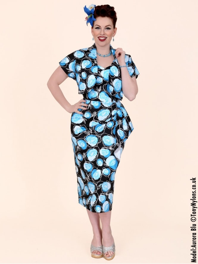 40s-1940s-Vivien-of-Holloway-Best-Vintage-Reproduction-Sarong-Bolero-Set-Black-Blue-Rose-Floral-Hollywood-Starlet-Pinup