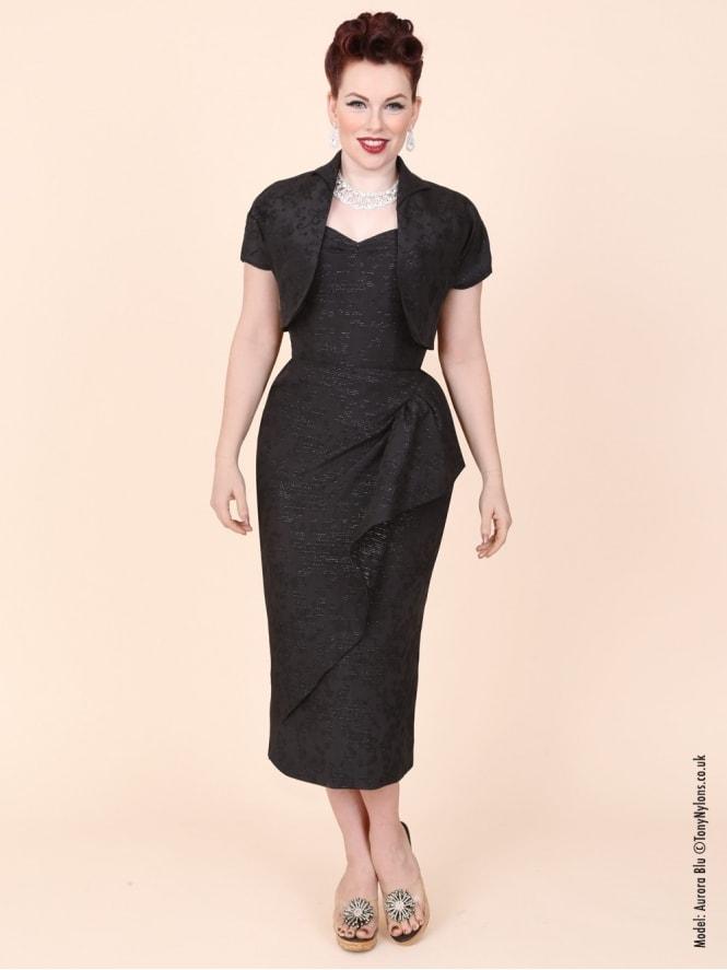 40s-1940s-Vivien-of-Holloway-Best-Vintage-Reproduction-Sarong-Bolero-Set-Silver-Black-Brocade-Hollywood-Starlet-Pinup
