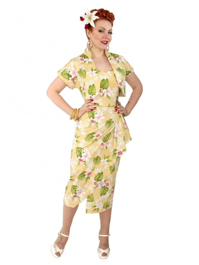 40s-1940s-Vivien-of-Holloway-Best-Vintage-Reproduction-Sarong-Bolero-Set-Delux-Frangipani-Pale-Yellow-Tiki-Hollywood-Starlet-Pinup