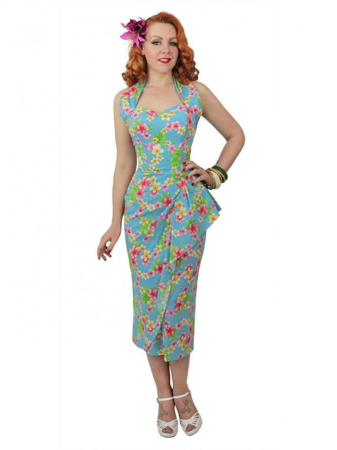 40s-1940s-Vivien-of-Holloway-Best-Vintage-Reproduction-Sarong-Bolero-Set-Delux-Frangipani-Turquoise-Tiki-Hollywood-Starlet-Pinup
