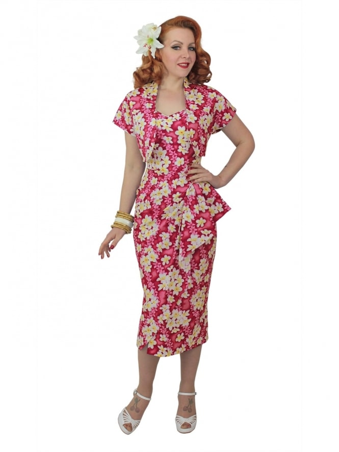 40s-1940s-Vivien-of-Holloway-Best-Vintage-Reproduction-Sarong-Bolero-Set-FrangipaniPink-Tiki-Hollywood-Starlet-Pinup