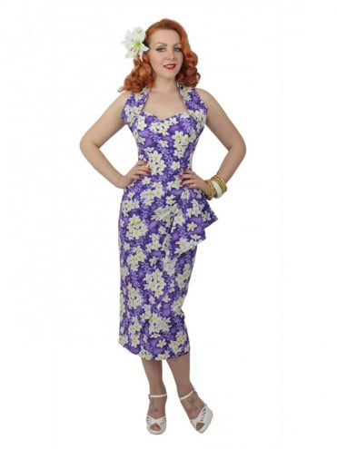 Sarong Frangipani Purple Set