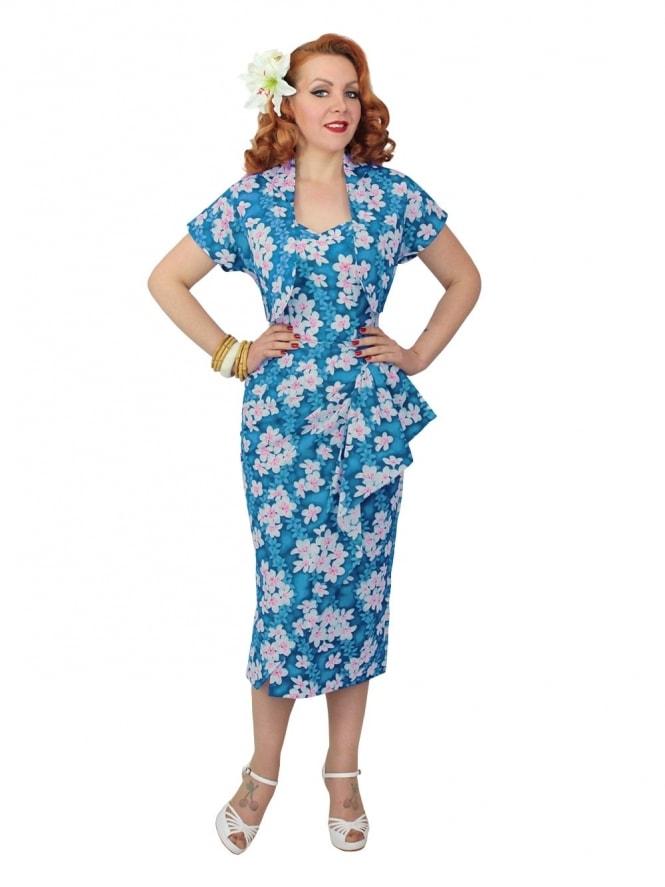 40s-1940s-Vivien-of-Holloway-Best-Vintage-Reproduction-Sarong-Bolero-Set-FrangipaniTurquoise-Tiki-Hollywood-Starlet-Pinup