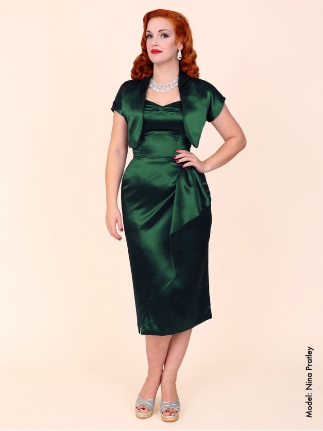 40s-1940s-Vivien-of-Holloway-Best-Vintage-Reproduction-Sarong-Bolero-Set-Green-Satin-Hollywood-Starlet-Pinup