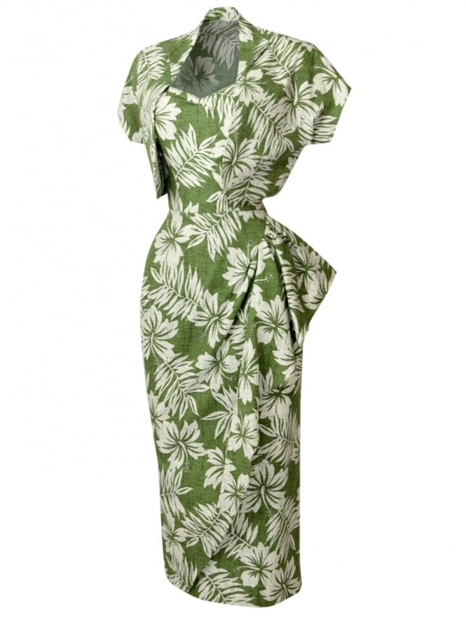 40s-1940s-Vivien-of-Holloway-Best-Vintage-Reproduction-Sarong-Bolero-Set-Delux-Frangipani-GreenTiki-Tiki-Hollywood-Starlet-Pinup