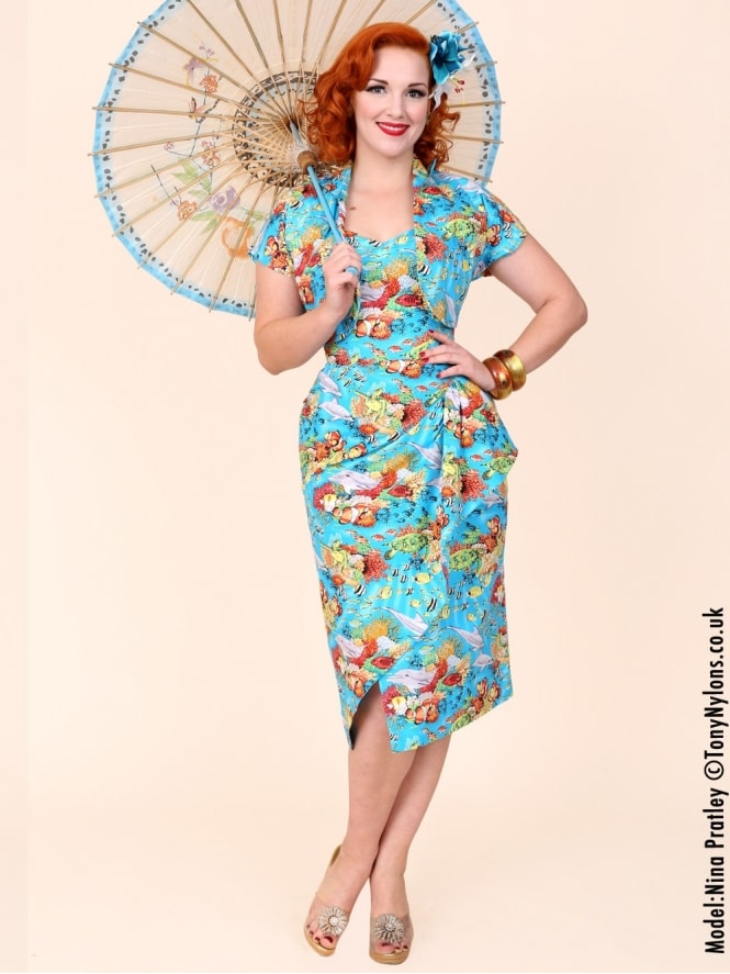 40s-1940s-Vivien-of-Holloway-Best-Vintage-Reproduction-Sarong-Bolero-Set-Turquiose-Blue-Hawaiian-Reef-Tropical-Hollywood-Starlet-Pinup