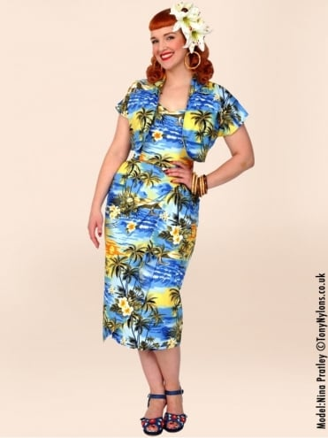 40s-1940s-Vivien-of-Holloway-Best-Vintage-Reproduction-Sarong-Bolero-Set-Blue-Hawaiian-Sunset-Tropical-Hollywood-Starlet-Pinup