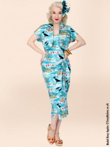 40s-1940s-Vivien-of-Holloway-Best-Vintage-Reproduction-Sarong-Bolero-Set-Hawaiian-Turquoise-Tropical-Hollywood-Starlet-Pinup