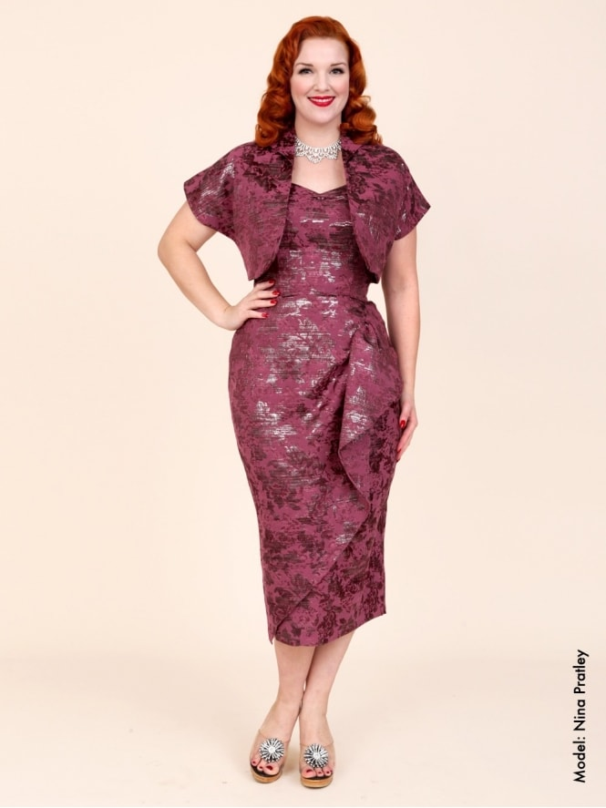 40s-1940s-Vivien-of-Holloway-Best-Vintage-Reproduction-Sarong-Bolero-Set-Silver-Dark-Red-Burgundy-Jacquard-Hollywood-Starlet-Pinup