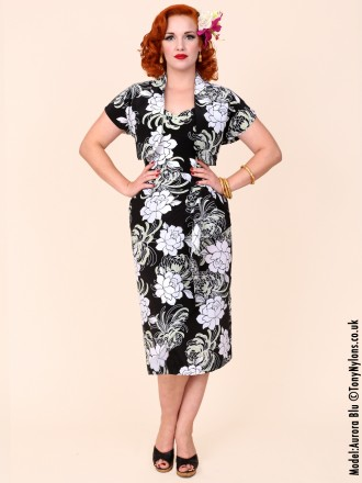 40s-1940s-Vivien-of-Holloway-Best-Vintage-Reproduction-Sarong-Bolero-Set-Black-White-Lotus-Floral-Hollywood-Starlet-Pinup
