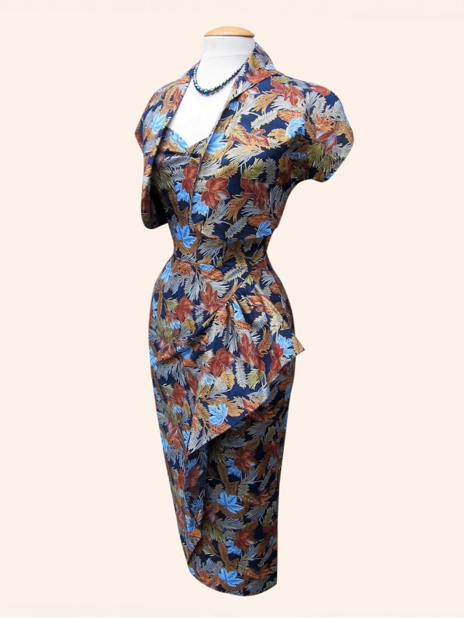 40s-1940s-Vivien-of-Holloway-Best-Vintage-Reproduction-Sarong-Bolero-Set-Maple-Leaf-Blue-Brown-Oriental-Hollywood-Starlet-Pinup
