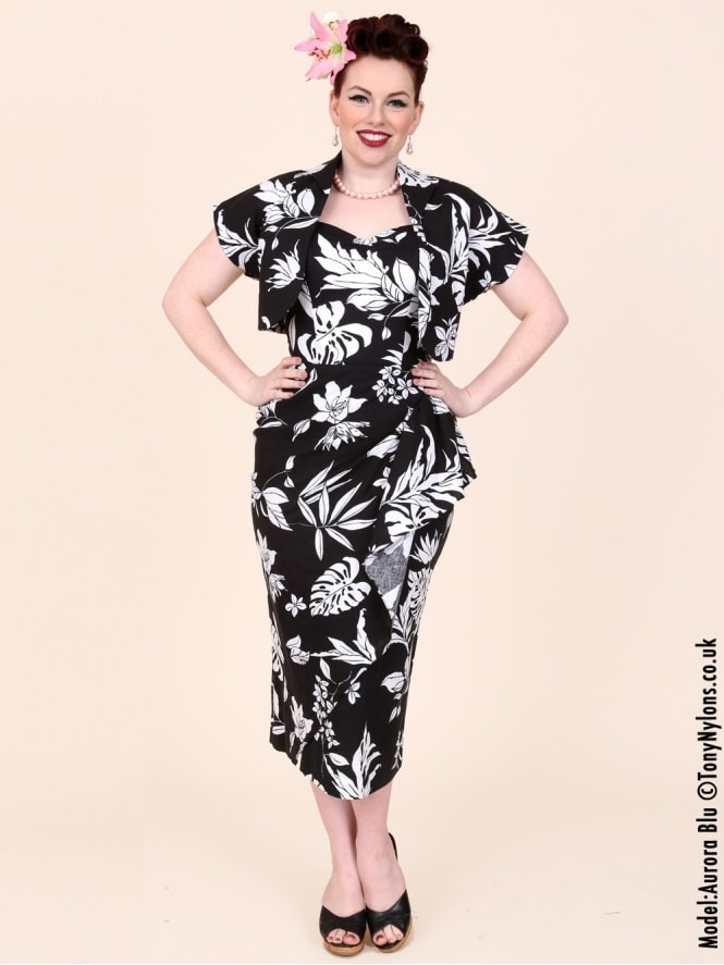 40s-1940s-Vivien-of-Holloway-Best-Vintage-Reproduction-Sarong-Bolero-Set-Black-White-Moonflower-Floral-Floral-Hollywood-Starlet-Pinup