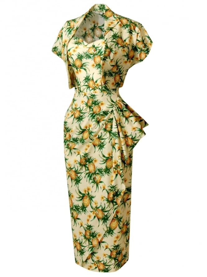 40s-1940s-Vivien-of-Holloway-Best-Vintage-Reproduction-Sarong-Bolero-Set-CreamPineapple-Tiki-Hollywood-Starlet-Pinup