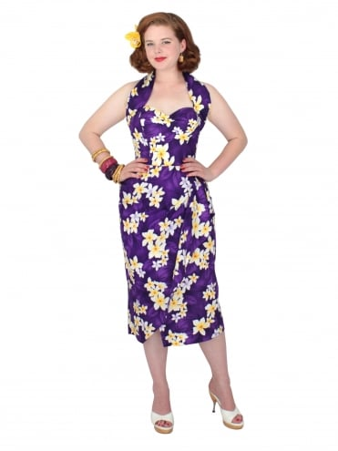 Sarong Plumeria Purple Bolero Set