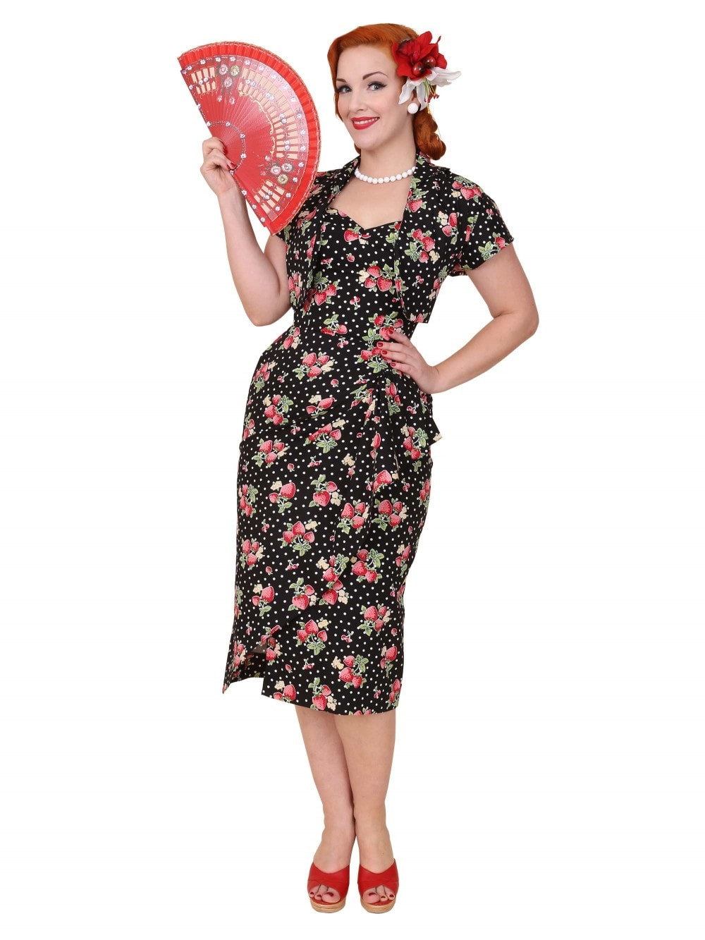 d14e5fd8c1a 1940s Sarong Strawberry Dot Black from Vivien of Holloway