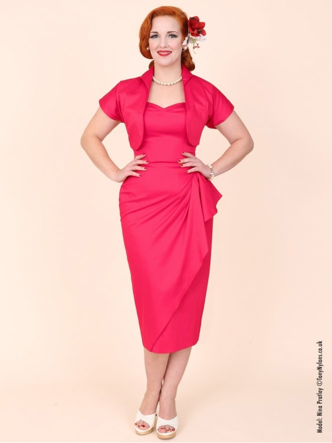 40s-1940s-Vivien-of-Holloway-Best-Vintage-Reproduction-Sarong-Bolero-Set-Strawberry-Dark-Pink-Cotton-Sateen-Hollywood-Starlet-Pinup